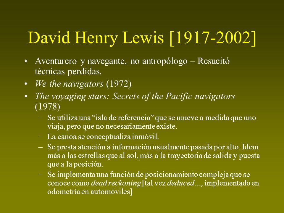 David Henry Lewis [1917-2002] Aventurero y navegante, no antropólogo – Resucitó técnicas perdidas. We the navigators (1972)